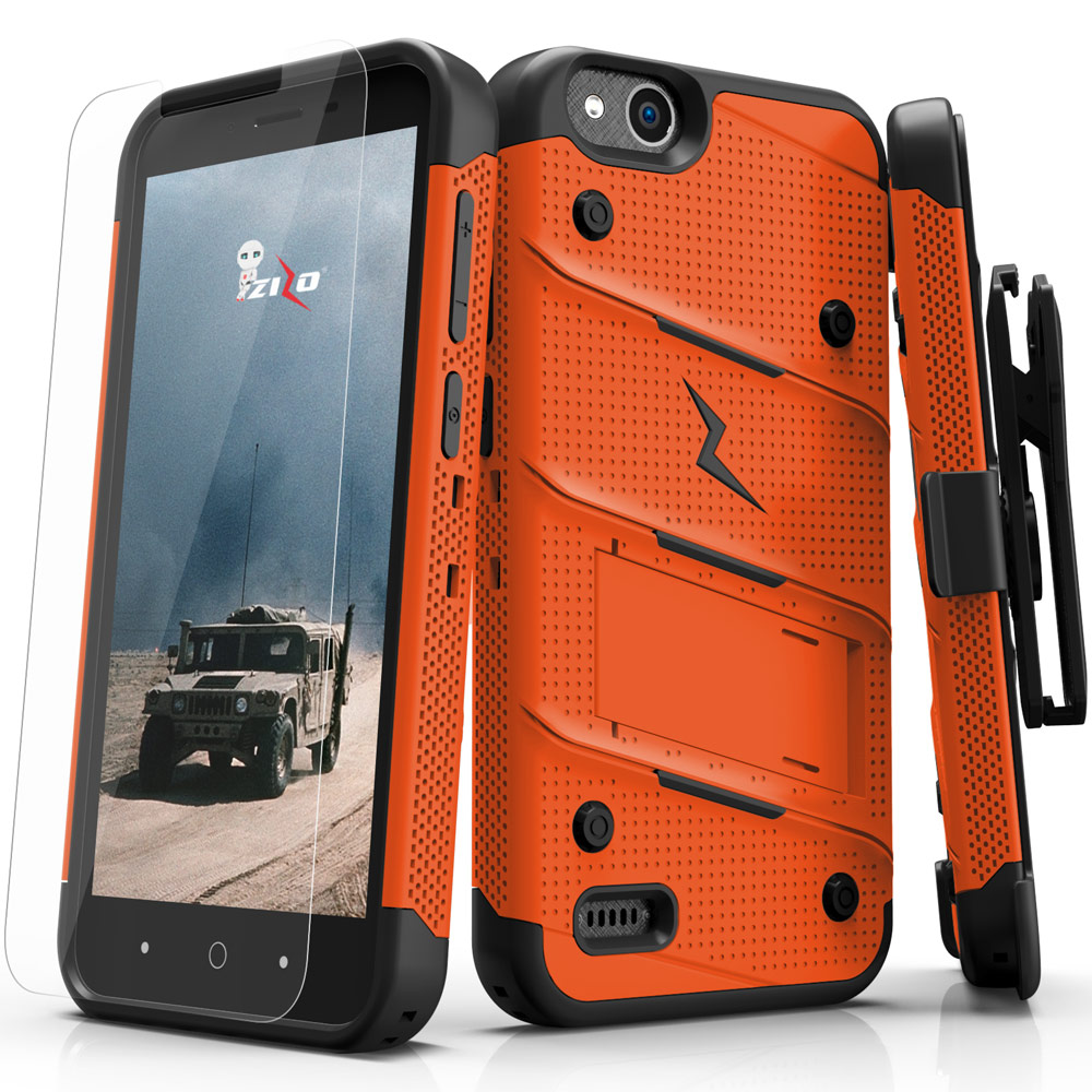 Made for [ZTE Tempo X/ Avid 4]-Bolt Series: Heavy Duty Cover w/ Kickstand Holster Tempered Glass Screen Protector & Lanyard [Orange/ Black]