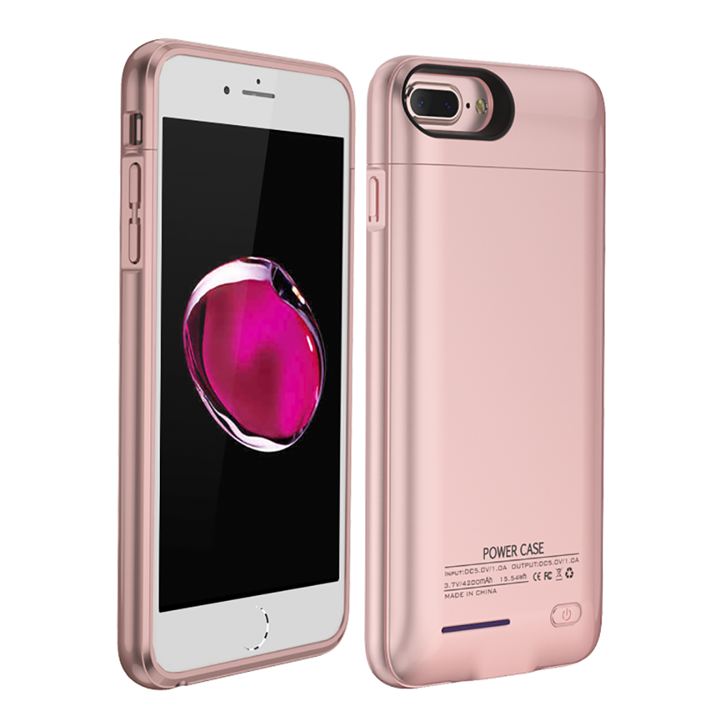 Apple iPhone 8/7/6S/6 Plus Charging Case, [3000mAh] Rechargeable External Power Battery Charging Case [Rose Gold]