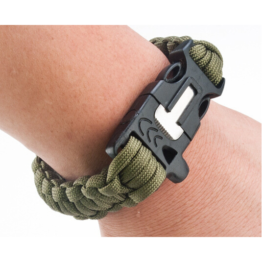 Black Multi-Function 4 in 1 Paracord Bracelet w/ Buckle