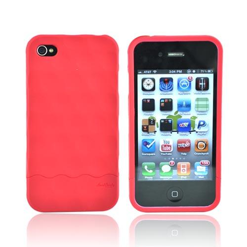 Original Hard Candy Rubberized Bubble Slider Apple iPhone 4 Rubberized Hard Case, BS4G-SFT-RED - Red