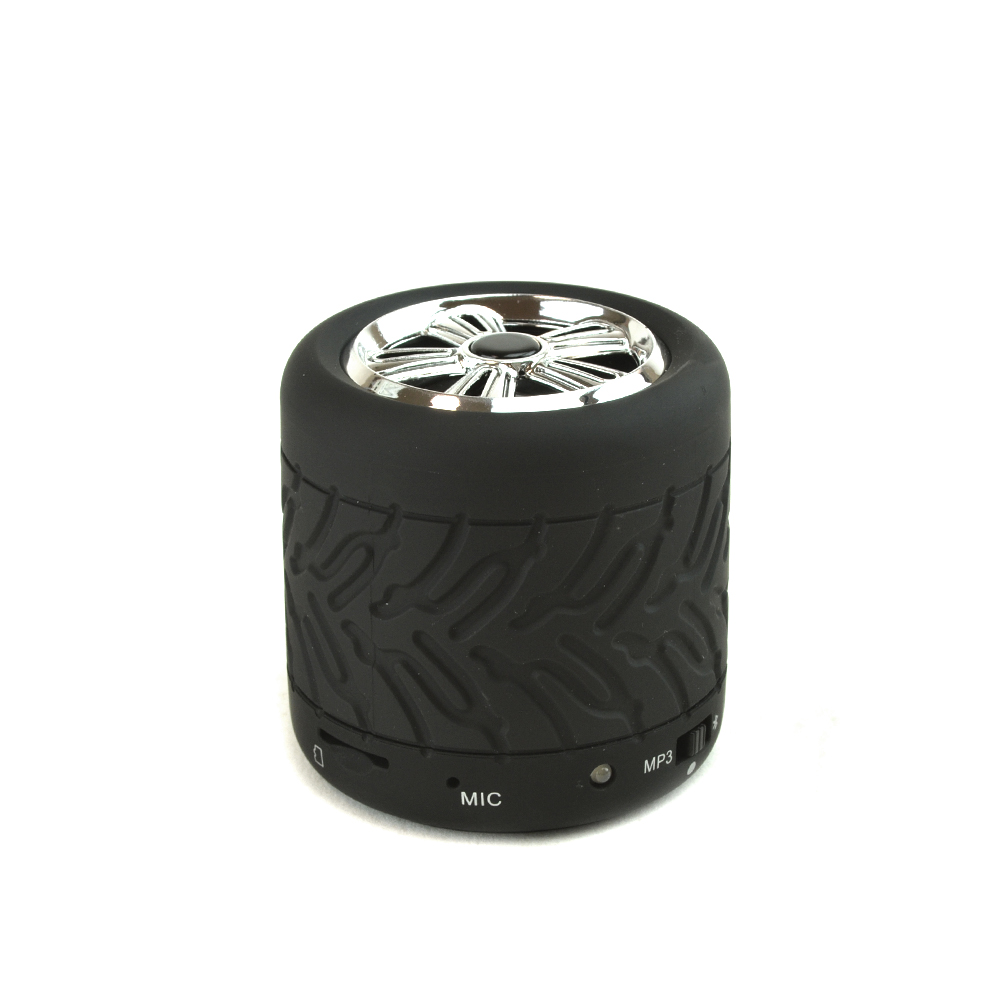 Black/ Silver Tire Wheel Portable Bluetooth & MP3 Speaker w/ Micro SD Port