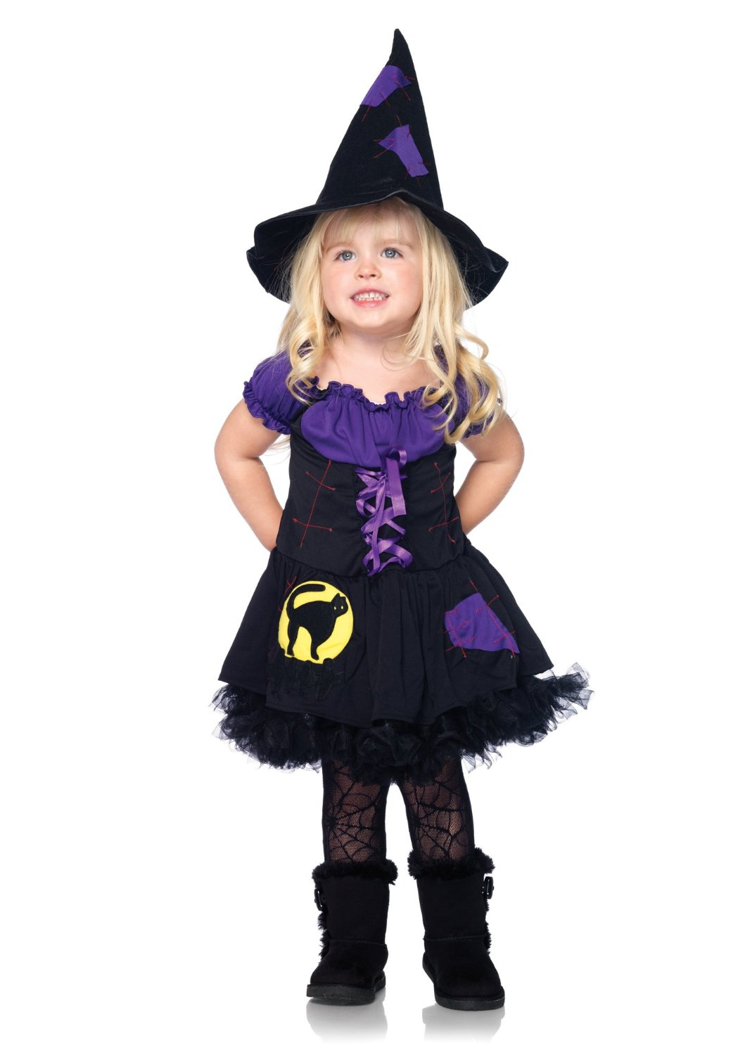 LegAvenue Halloween Costume For Kids [L] Black Cat Witch, Patchwork Peasant Dress And Matching Hat (2 PC)