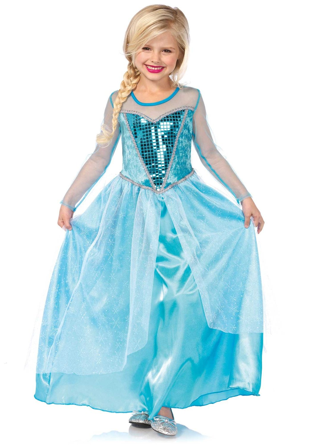 LegAvenue Halloween Costume For Kids [S] Fantasy Snow Queen, Long Dress w/ Sequin Bodice And Glitter Snowflake Skirt Overlay