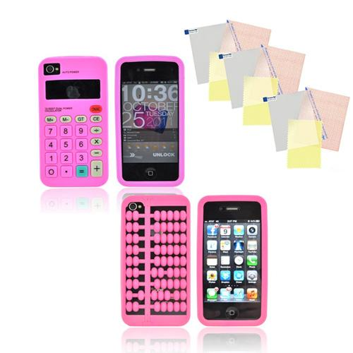AT&T/ Verizon Apple iPhone 4, iPhone 4S Geeky Calculator Bundle w/ Hot Pink Abacus Silicone Case, Pink Calculator Silicone Case, & 3 Pack Screen Protectors