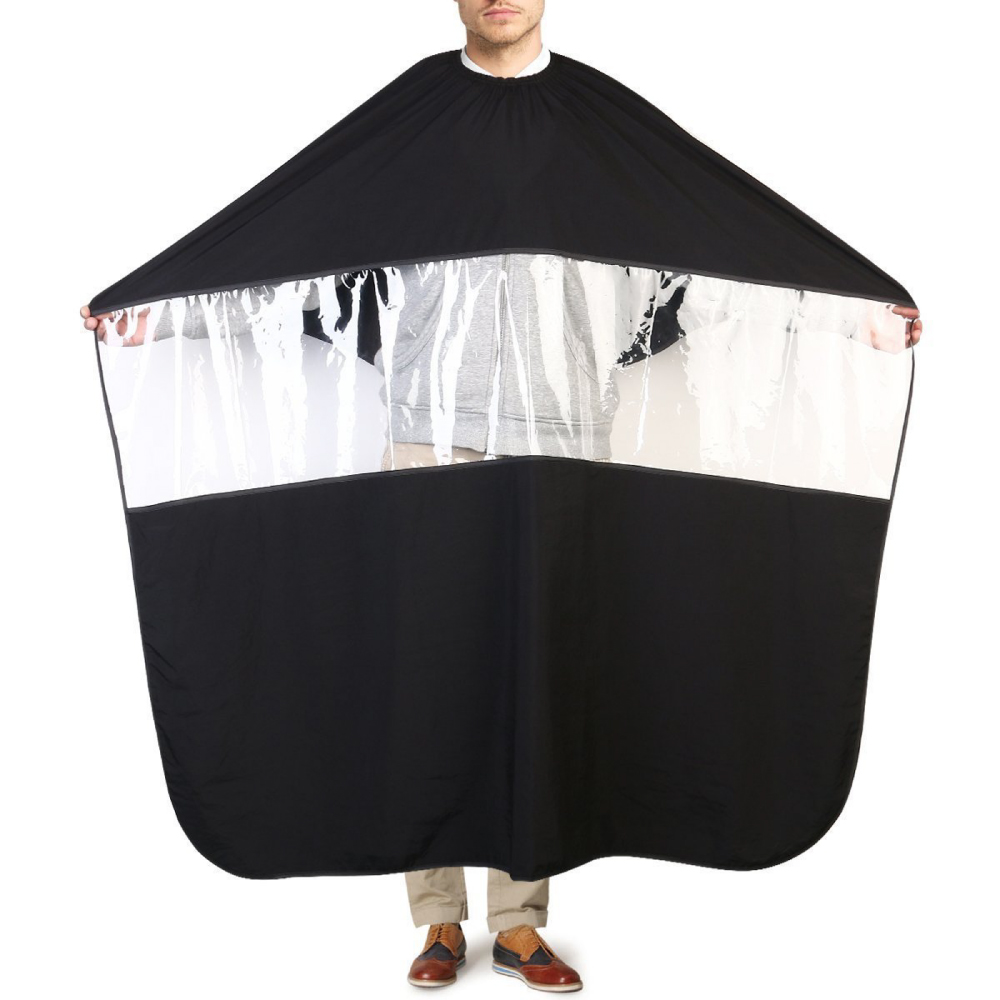 Eutuxia Barbers Hairdressing Cape, Gown with Transparent Viewing Window. Stretchable & Adjustable Buckle. Use Your Phone While Cutting or Styling Hair at Salon or Home. Anti-Static, Waterproof Fabric.
