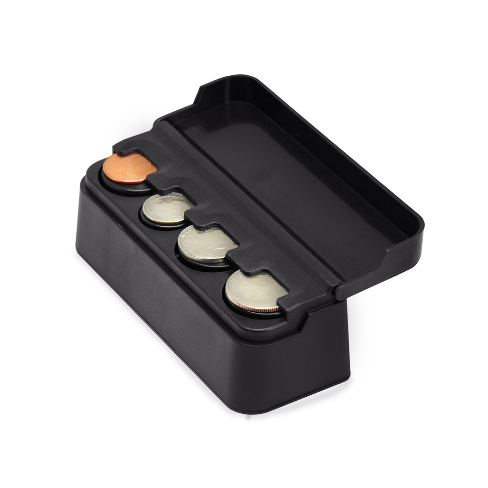 RED SHIELD Premium Black Coin Holder, Organizer with Removable Lid for Cars, Homes, and Offices. Easily Organize and Store Loose Change in One Small Container. Durable Plastic.