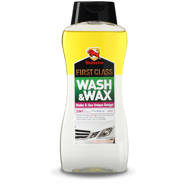 Bullsone First Class Wash & Wax For White Cars [Yellow] - Cleans & Shines At The Same Time!