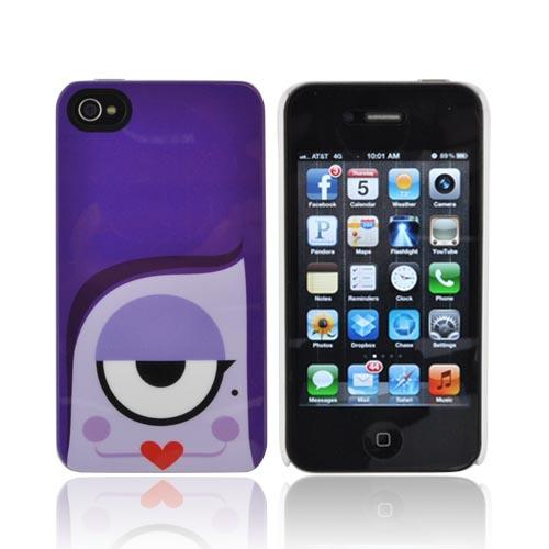 Original Psyclops AT&T/ Verizon Apple iPhone 4, iPhone 4S Syndi Hard Case - Purple Cyclops w/ Red Lips