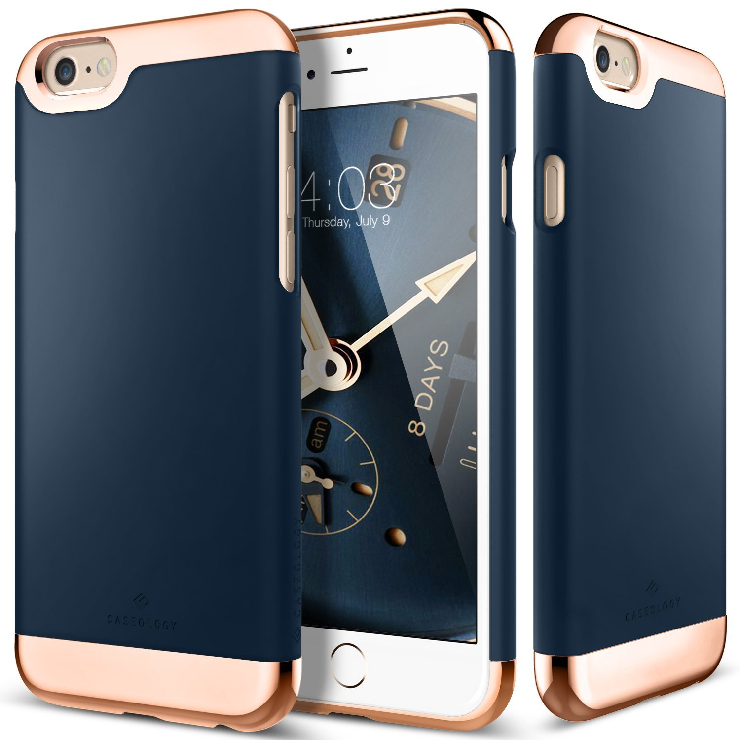 Apple iPhone 6/6S Case, Caseology [Savoy Series] Chrome / Microfiber Slider Case [Navy Blue] [Premium Rose Gold]
