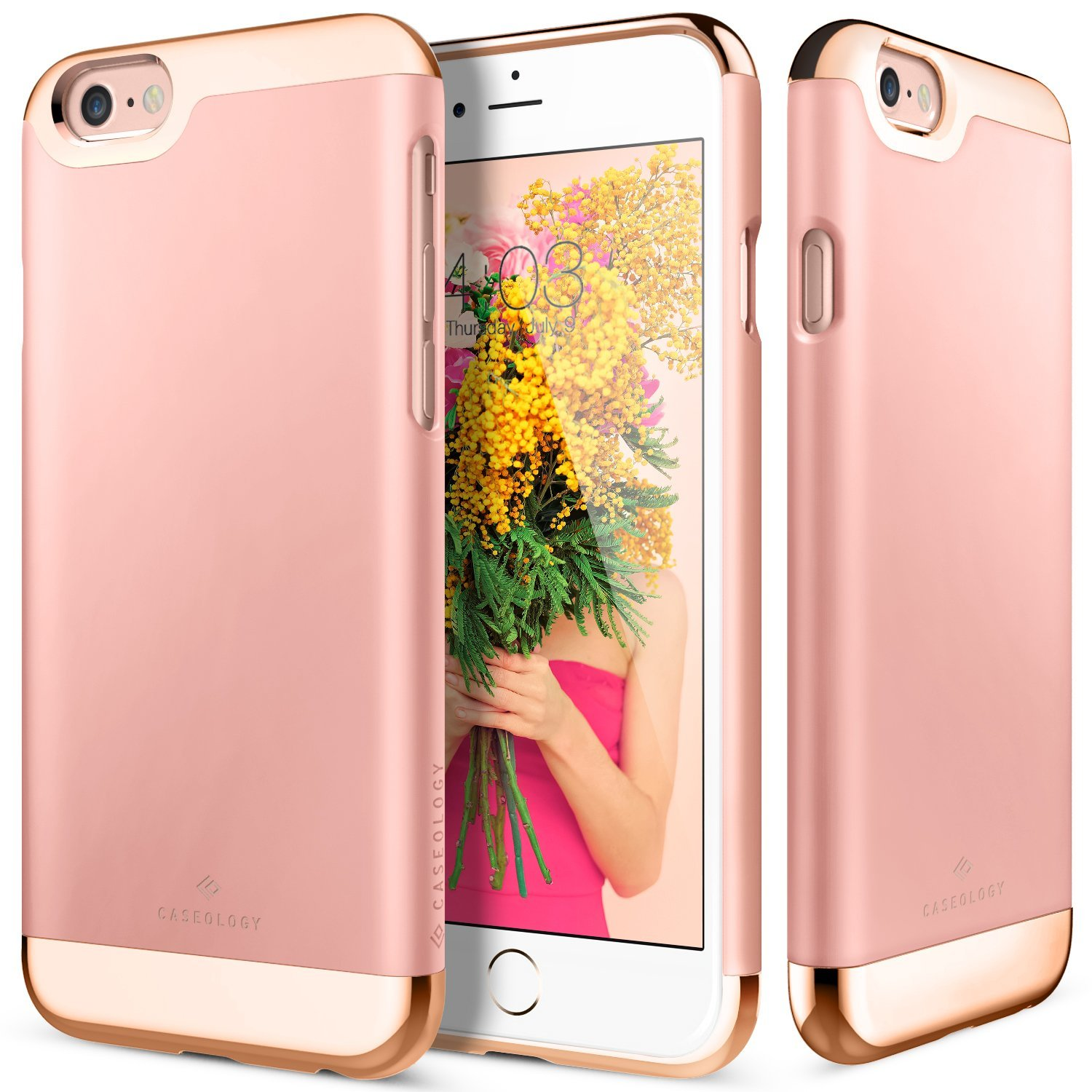 Apple iPhone 6/6S Case, Caseology [Savoy Series] Chrome / Microfiber Slider Case [Rose Gold] [Premium Rose Gold]