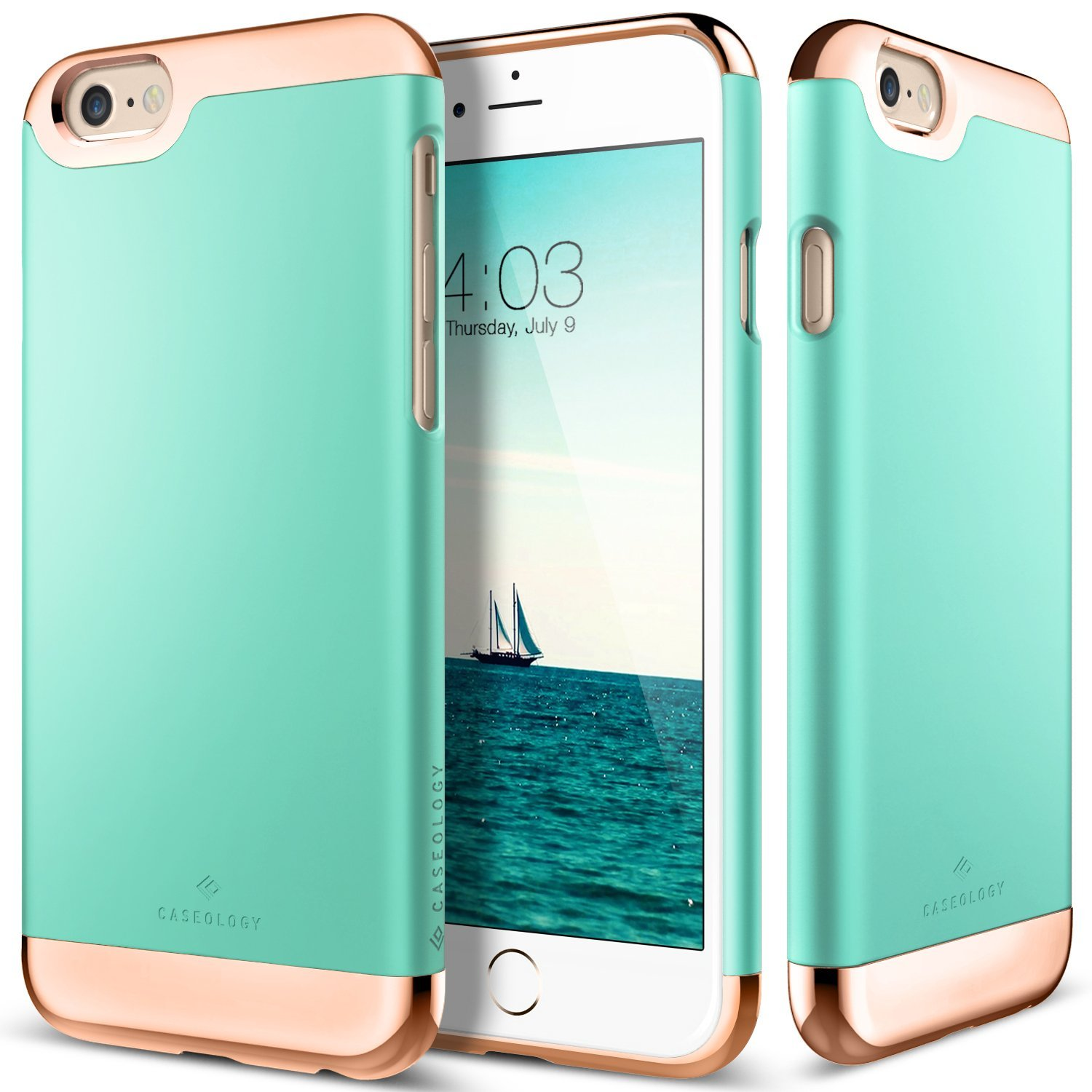 Apple iPhone 6/6S Case, Caseology [Savoy Series] Chrome / Microfiber Slider Case [Turquoise Mint] [Premium Rose Gold]