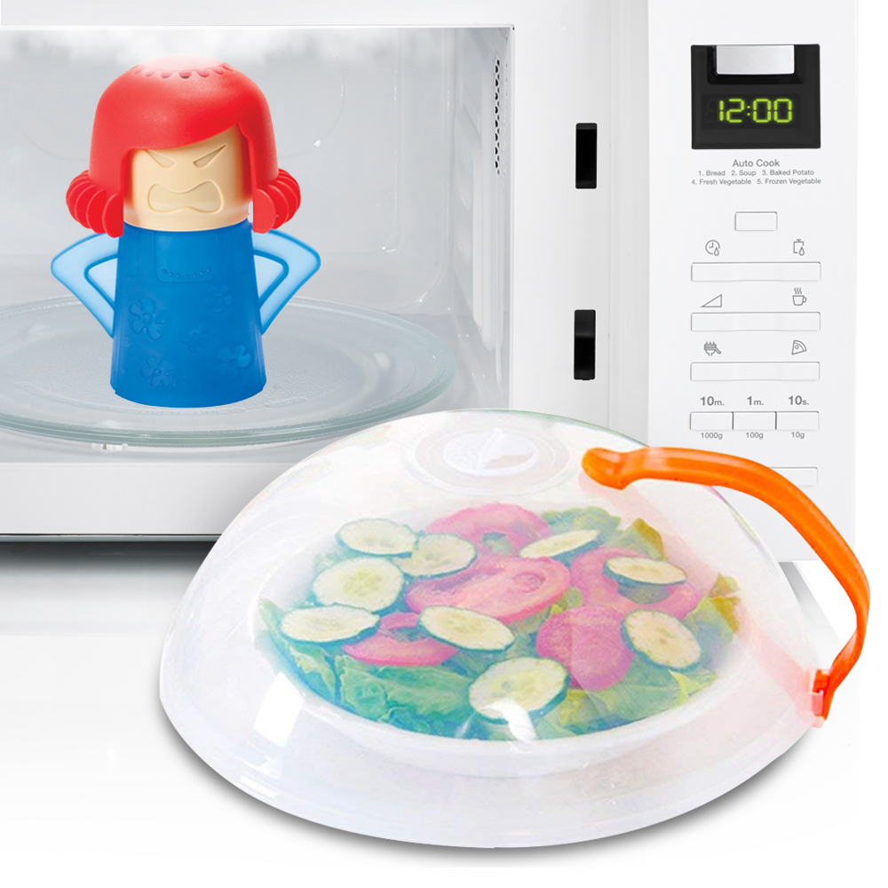 Eutuxia Microwave Cleaner + Cover Bundle. Perfect for Covering Plates, Bowls, and Cups to Prevent Food & Liquid Splatters While Microwaving. Angry Mama Steam Cleans & Disinfects with Vinegar & Water.