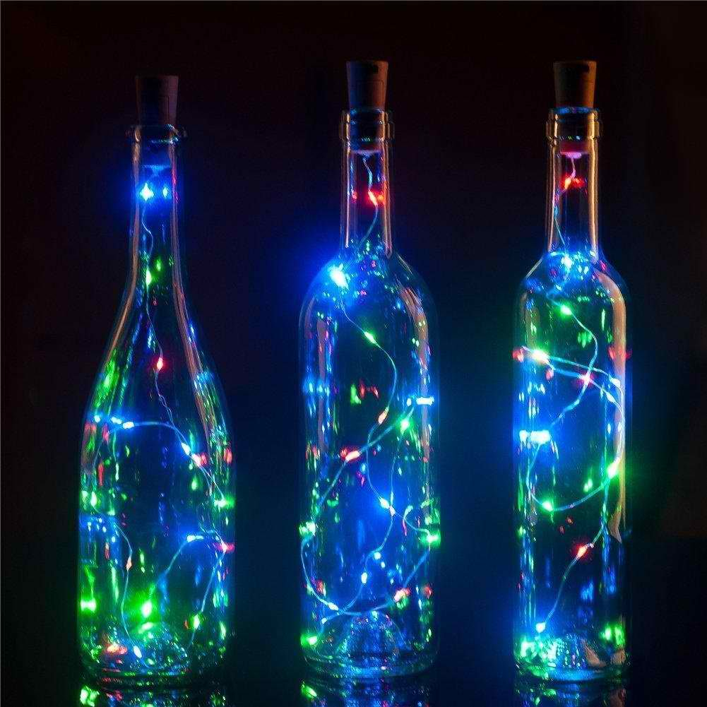 Bottle Cork Lights, [78 inch/ 2M] 20 LED String Lights [Rainbow] Perfect for Wine Bottle DIY, Party, Table Decor, Christmas, Halloween, Wedding Centerpieces and More!