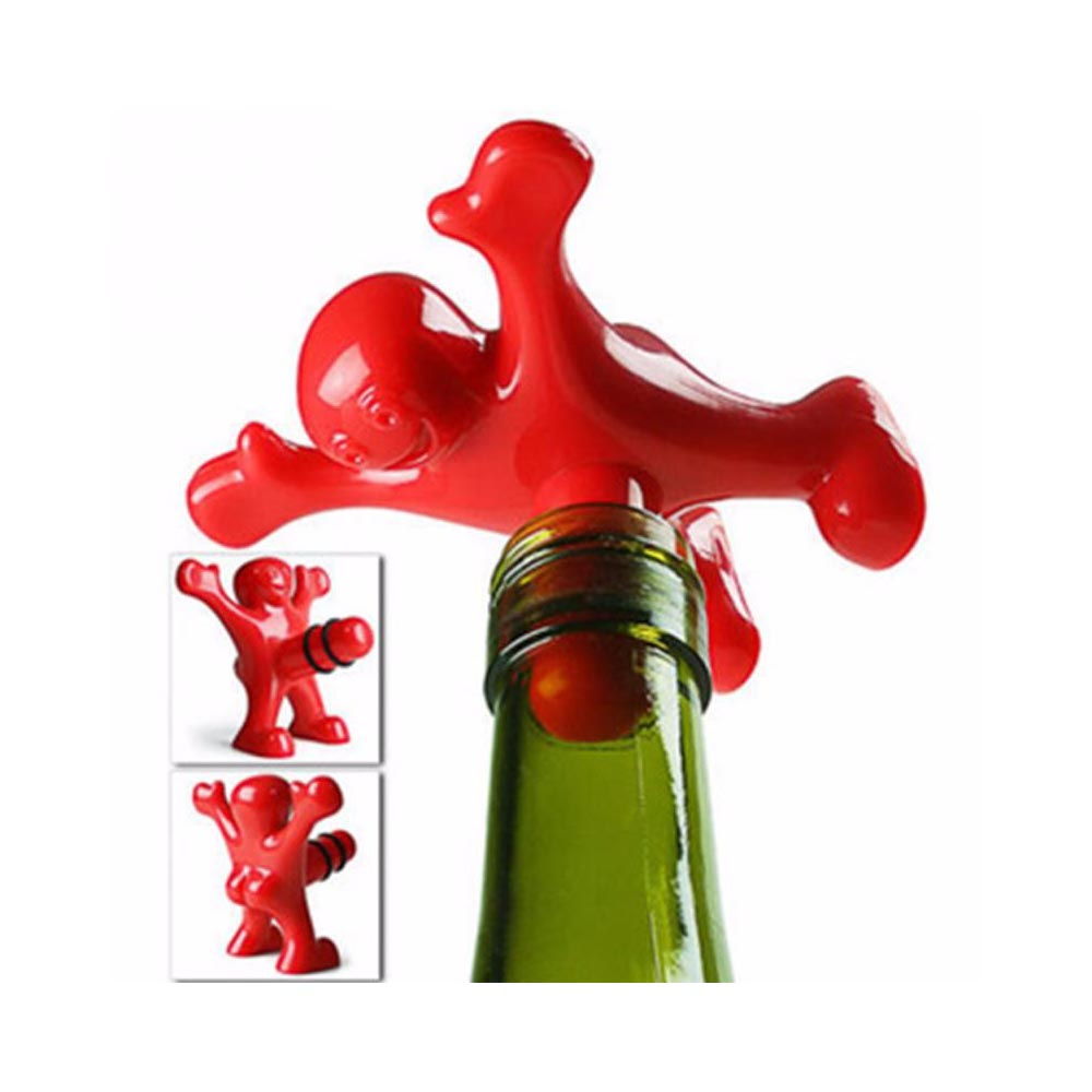 Unique Wine Bottle Plug, Funny Happy Man Wine Bottle Plug Stopper [Red]