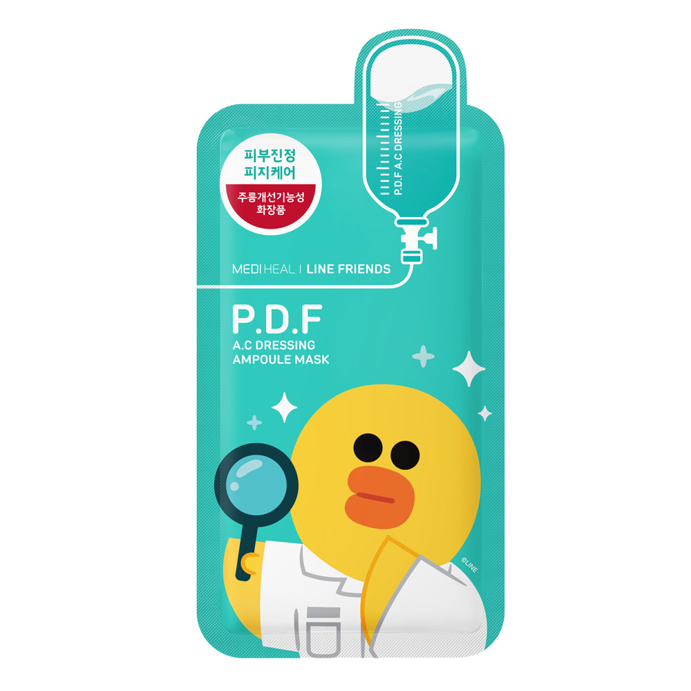 [MEDIHEAL] Line Friends P.D.F A.C Dressing Ampoule Face Mask Sheet 27ml X 10 Pack