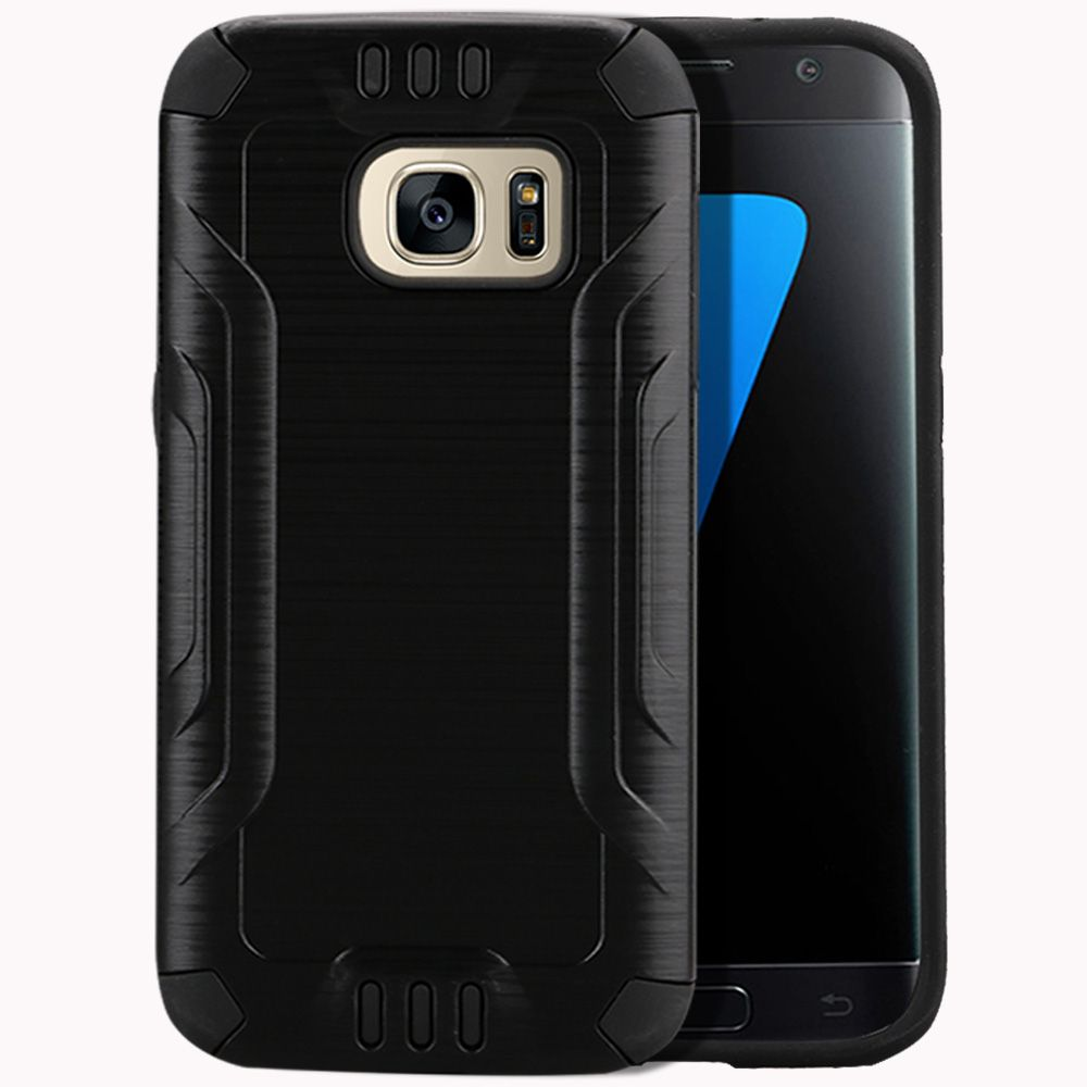 Samsung Galaxy S7 Case, Slim Armor Brushed Metal Design Hybrid Hard Case on TPU [Black] with Travel Wallet Phone Stand