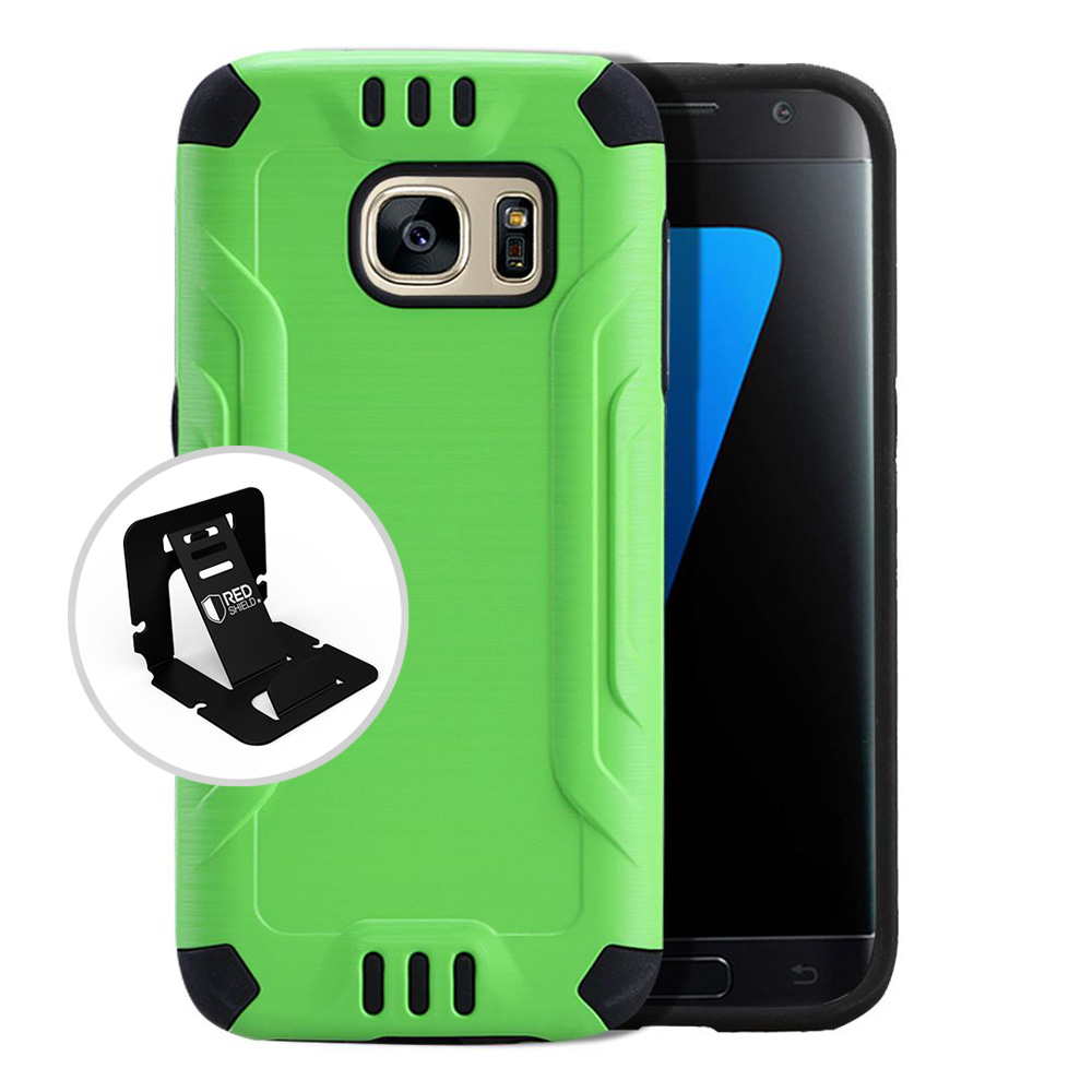 Samsung Galaxy S7 Case, Slim Armor Brushed Metal Design Hybrid Hard Case on TPU [Neon Green] with Travel Wallet Phone Stand