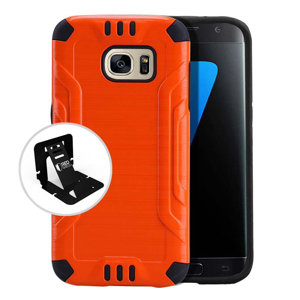 Samsung Galaxy S7 Case, Slim Armor Brushed Metal Design Hybrid Hard Case on TPU [Orange] with Travel Wallet Phone Stand