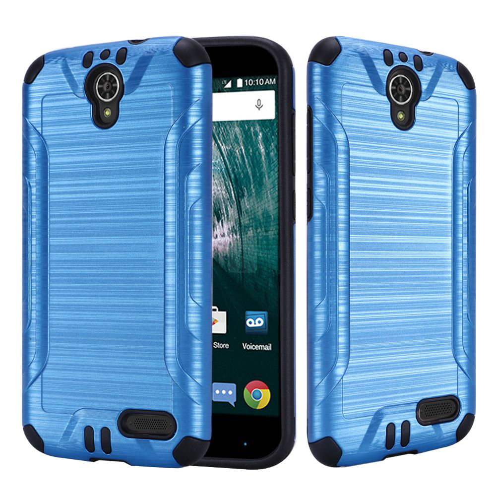 [ZTE Warp 7/ Grand X3/ Grand X 3] Case, Slim Armor Brushed Metal Design Hybrid Hard Case on TPU [Blue] with Travel Wallet Phone Stand