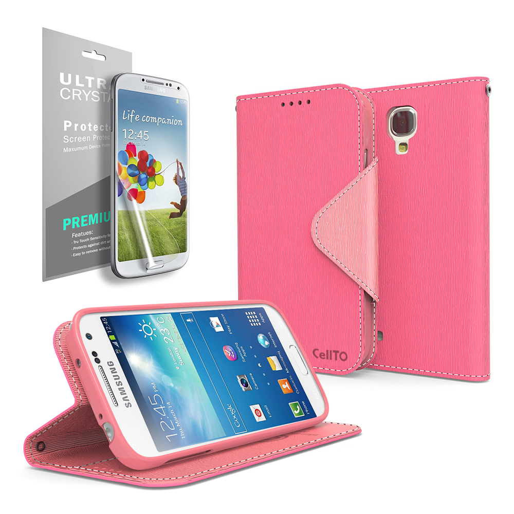 Hot Pink/ Pink Faux Leather Diary Flip Stand Case w/ ID Slots, Bill Fold & Magnetic Closure for Samsung Galaxy S4 Mini Case