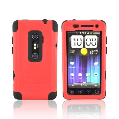 Original Trident Cyclops II HTC EVO 3D Anti-Skid Hard Cover Over Silicone w/ Screen Protector, CY2-EVO-3D-RD - Red/ Black