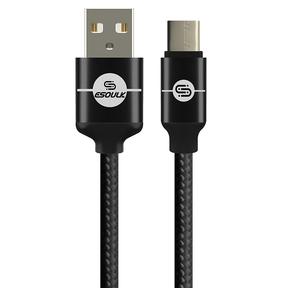 Type-C to USB 2.0 (A) Data & Sync Nylon Braided Charging Cable [Black] 1.5M/ (5 Feet)