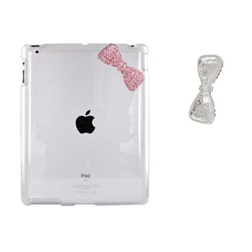 Apple iPad 2 Clear Hard Case w/ Pink Bling Bow