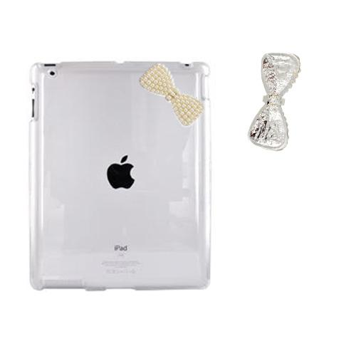 Apple iPad 2 Clear Hard Case w/ Pearl Bow