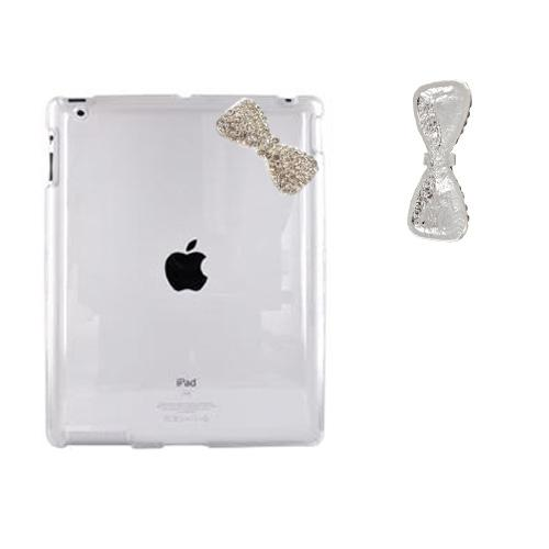 Apple iPad 2 Clear Hard Case w/ Silver Bling Bow
