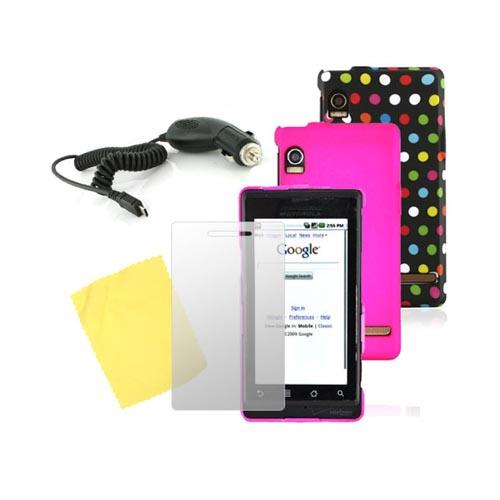 Motorola Droid A855 Essential Pink Hard Case, Polk Dot Rubber Hard Case, Screen Protector, and Car Charger Bundle Package
