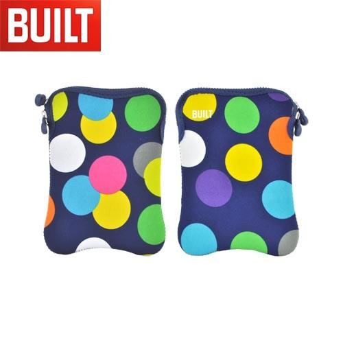 "Original BUILT (7-8"" Tablets like Amazon Kindle Fire) Hourglass Design Neoprene Sleeve Case, E-ES8-SDT - Multi Colored Polka Dots on Navy Blue"