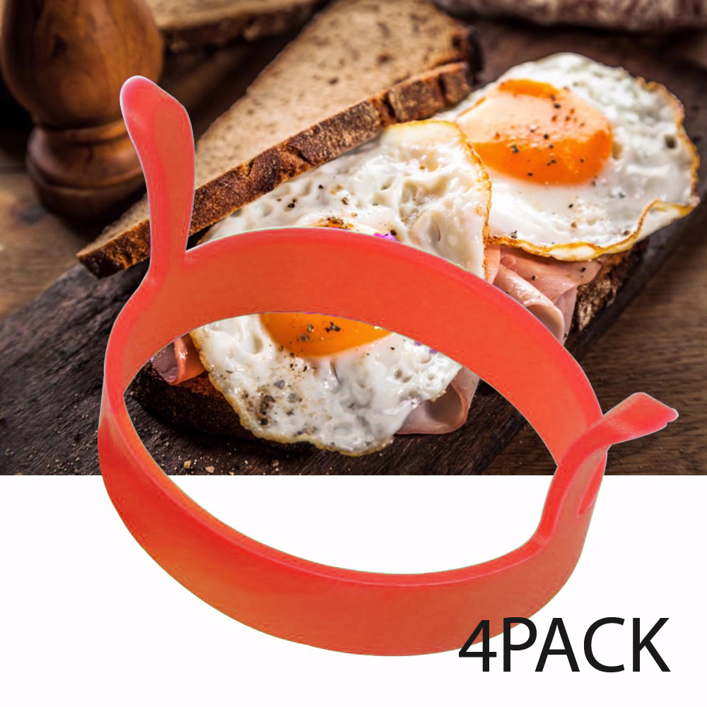 Eutuxia Silicone Egg Ring Mold. Perfect Kitchen Tool for Cooking Fried Eggs & Pancakes. Enjoy Breakfast Sandwiches. Nonstick, Heat Resistant, and BPA Free Food Grade Material. Dishwasher Safe. [4 PK]