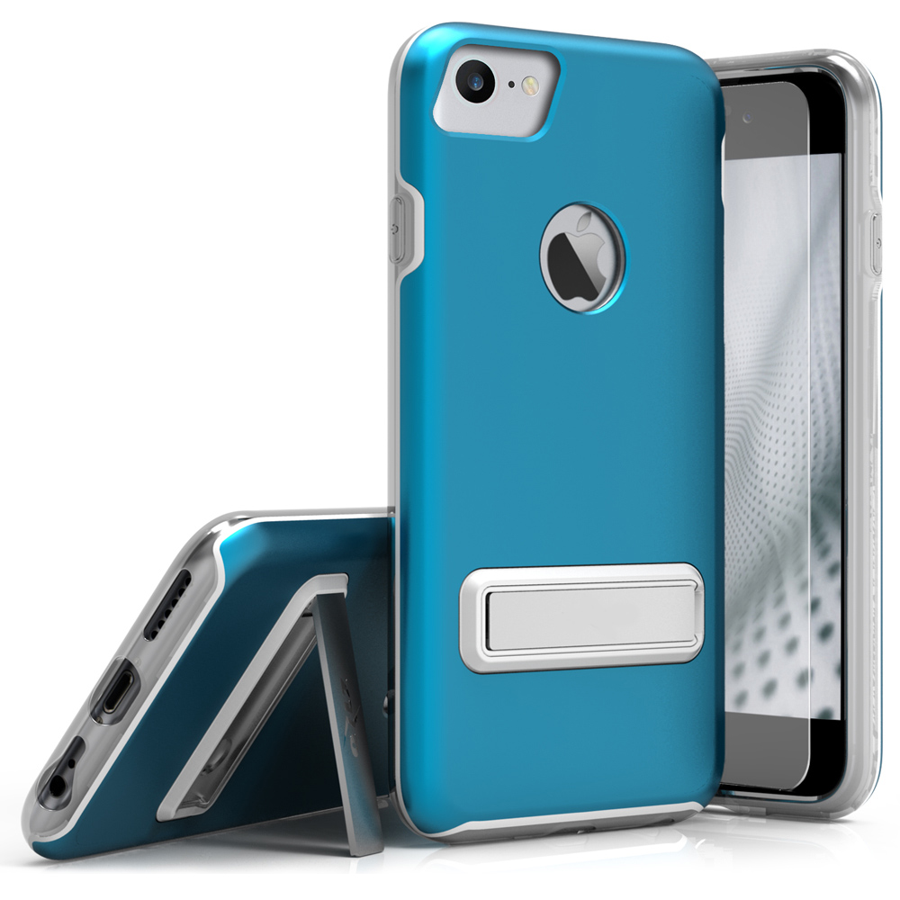 Apple iPhone 8/7/6S/6 Case, ELITE Cover Slim & Protective Case w/ Built-in [MAGNETIC Kickstand] Shockproof Protection Lightweight [Metallic Hybrid] w/ Tempered Glass [Turquoise]