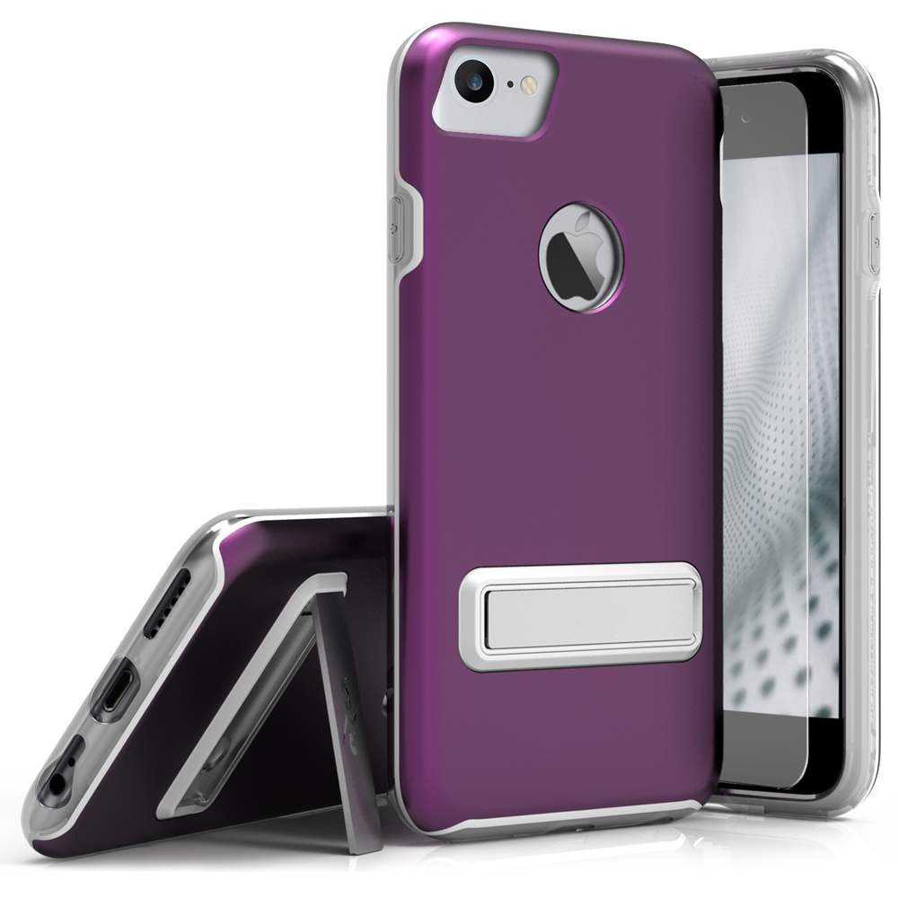 Made for Apple iPhone 8/7/6S/6 Case, ELITE Cover Slim Protective Case w/ Built-in [MAGNETIC Kickstand] Shockproof Protection Lightweight [Metallic Hybrid] w/ Tempered Glass [Purple]