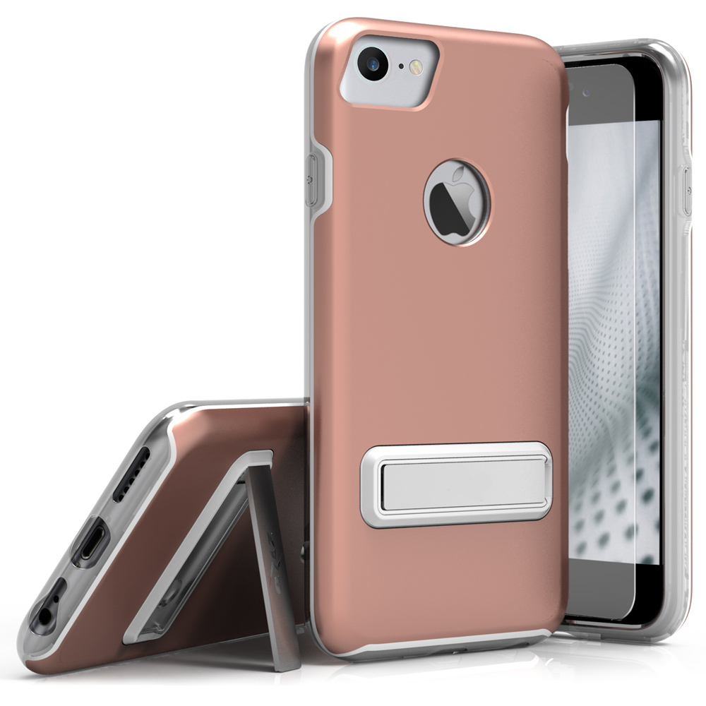 Apple iPhone 8/7/6S/6 Case, ELITE Cover Slim & Protective Case w/ Built-in [MAGNETIC Kickstand] Shockproof Protection Lightweight [Metallic Hybrid] w/ Tempered Glass [Rose Gold]