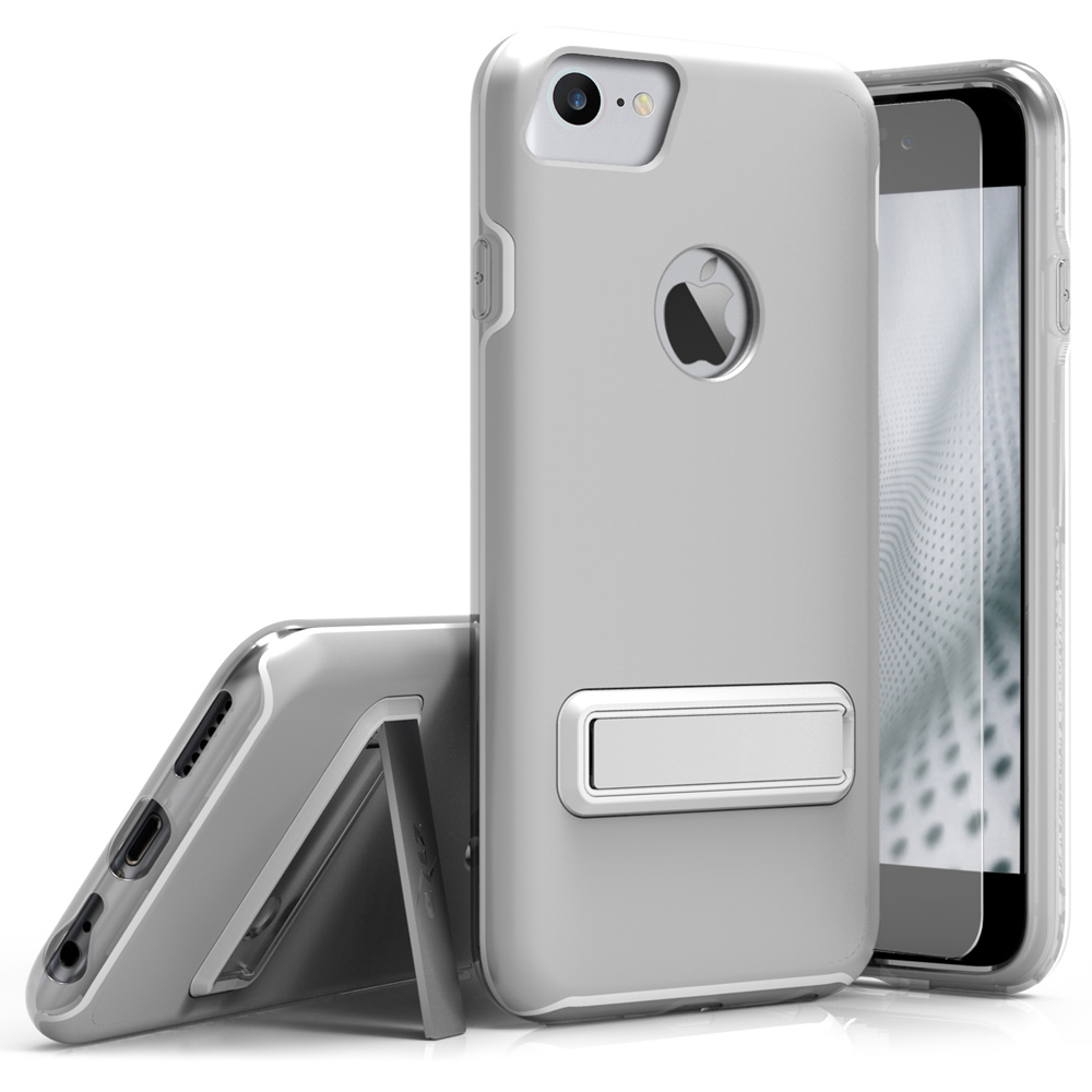 Apple iPhone 8/7/6S/6 Case, ELITE Cover Slim & Protective Case w/ Built-in [MAGNETIC Kickstand] Shockproof Protection Lightweight [Metallic Hybrid] w/ Tempered Glass [Silver]