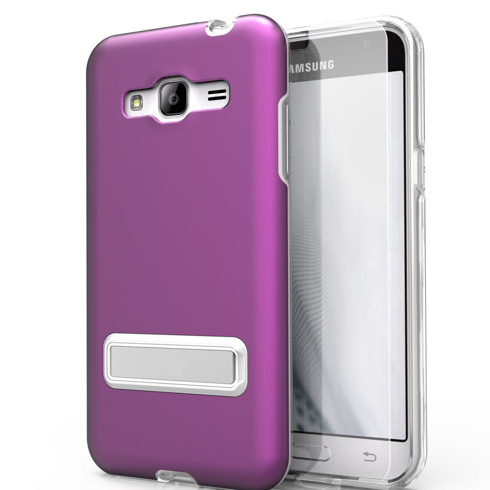 Samsung Galaxy On5 Case, ELITE Cover Slim & Protective Case w/ Built-in [MAGNETIC Kickstand] Shockproof Protection Lightweight [Metallic Hybrid] w/ Tempered Glass [Standard Purple]