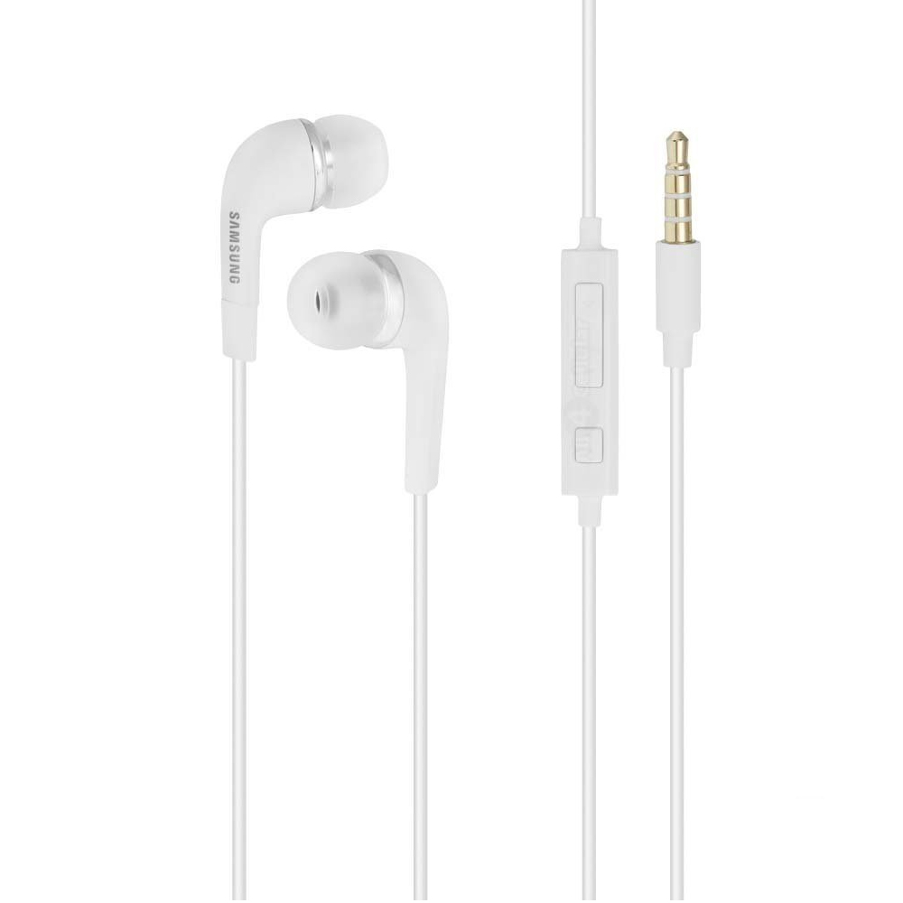 Samsung Stereo Headset (3.5 mm) w/ Volume Control and Flat Tangle Free Cable [White]