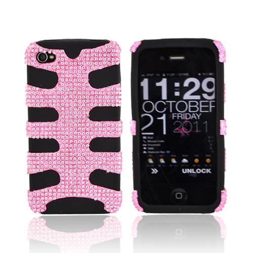 AT&T/ Verizon iPhone 4, iPhone 4S Bling Hard Fishbone on Silicone Case - Baby Pink/ Black