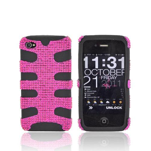 AT&T/ Verizon iPhone 4, iPhone 4S Bling Hard Fishbone on Silicone Case - Hot Pink/ Black