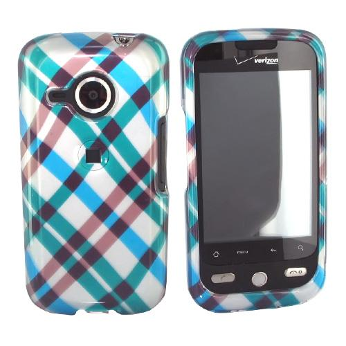 HTC Droid Eris S6200 Hard Case - Checkered Diamonds of Blue, Green, Brown, Silver