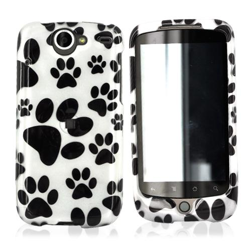 Google Nexus One Hard Case - Black Dog Paw Design on White