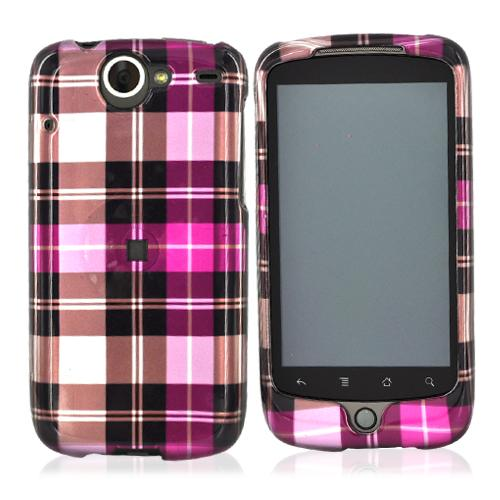 Google Nexus One Hard Case - Plaid Pattern of Hot Pink, Brown, Pink