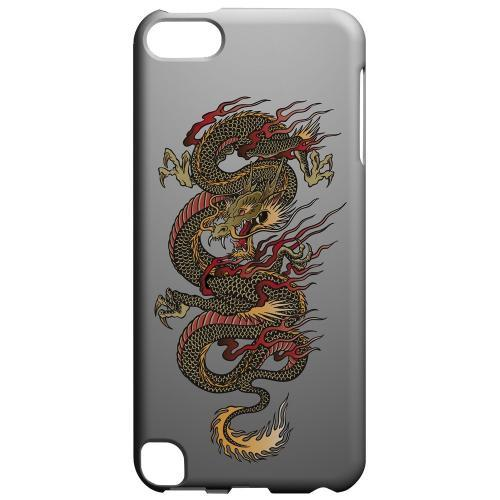 Geeks Designer Line (GDL) Slim Hard Case for Apple iPod Touch 5 - Dragon on Gray Gradient