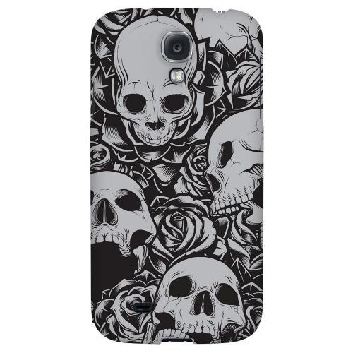 Skulls Rose Gray - Geeks Designer Line Tattoo Series Hard Back Case for Samsung Galaxy S4