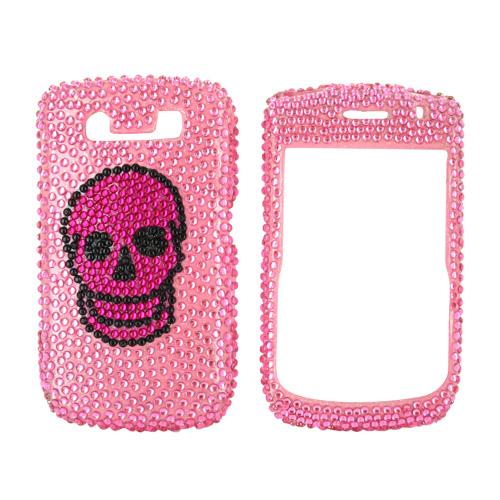 Blackberry Curve 8900 Bling Hard Case - Black Diamond Skull on Pink Diamonds