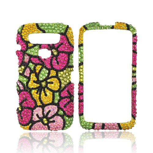 Blackberry Torch 9850 Bling Hard Case - Green/ Magenta/ Yellow Hawaiian Flowers