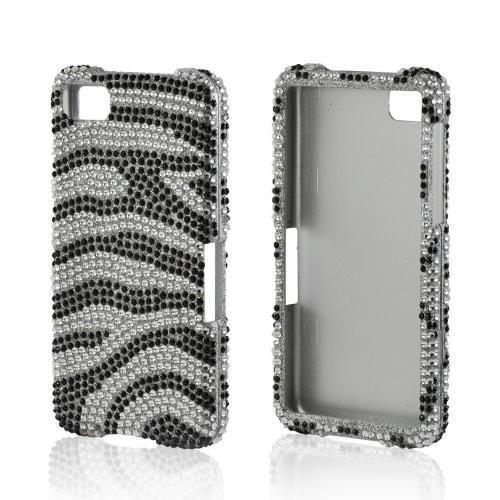 Silver/ Black Zebra Bling Hard Case for Blackberry Z10