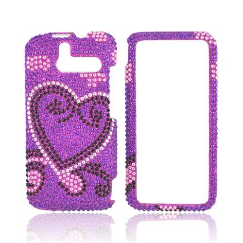 HTC Arrive Bling Hard Case - Silver/ Black Heart on Purple Gems