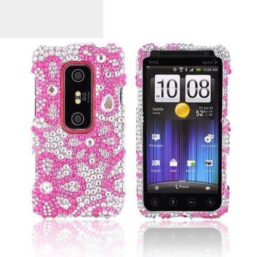 HTC EVO 3D Bling Hard Case - Pink Lace Flowers on Silver Gems